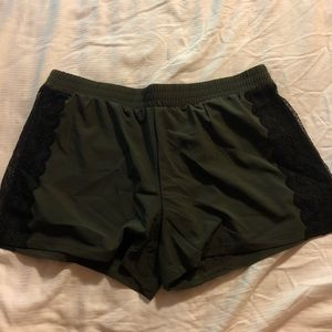 Green and black Fabletics shorts